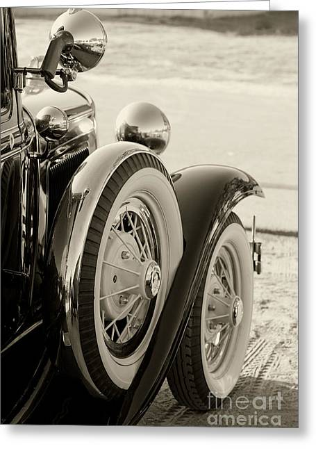 Classic Ford Police Car Automobile In Sepia 3014.01 Greeting Card by M K  Miller