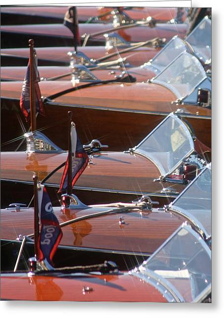 Mahogany Greeting Cards - Classic Gar Wood Runabouts Greeting Card by Steven Lapkin