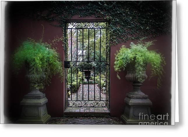 Wrought Iron Gate Greeting Cards - Classic Garden Gate Greeting Card by Perry Webster