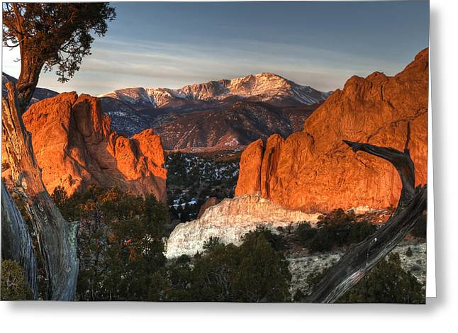 Copyrighted Greeting Cards - Classic Garden of the Gods Greeting Card by Mike Berenson