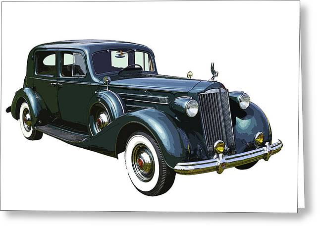 Made Digital Art Greeting Cards - Classic Green Packard Luxury Automobile Greeting Card by Keith Webber Jr