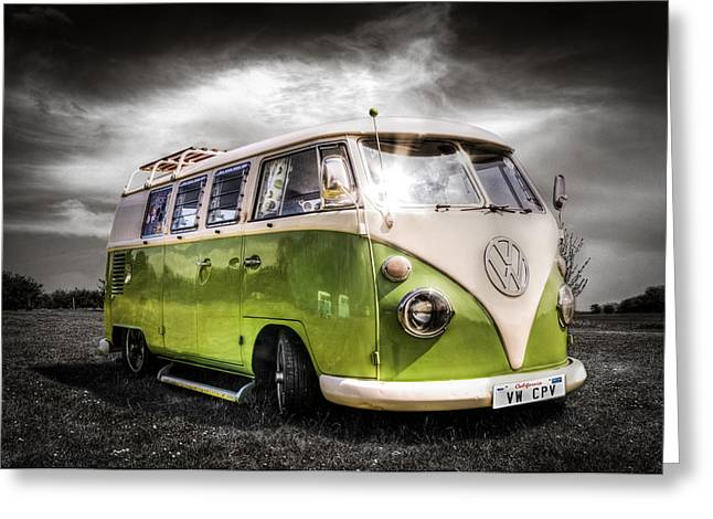 Californian Greeting Cards - Classic green VW Campavan Greeting Card by Ian Hufton