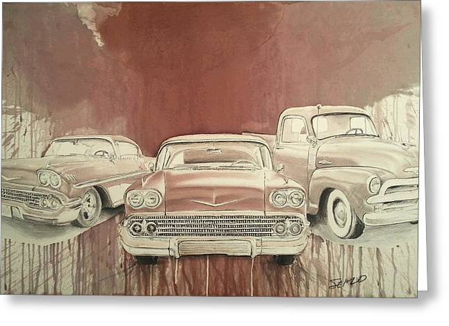 Rusted Cars Drawings Greeting Cards - Classic GSM Greeting Card by Steven  Nakamura