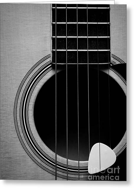 """six String"" Greeting Cards - Classic Guitar in Black and White Greeting Card by Paul Ward"