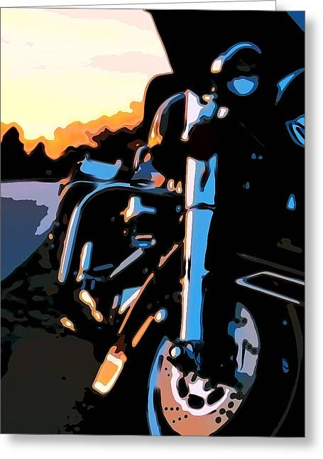 Chrome Paintings Greeting Cards - Classic Harley Greeting Card by Michael Pickett
