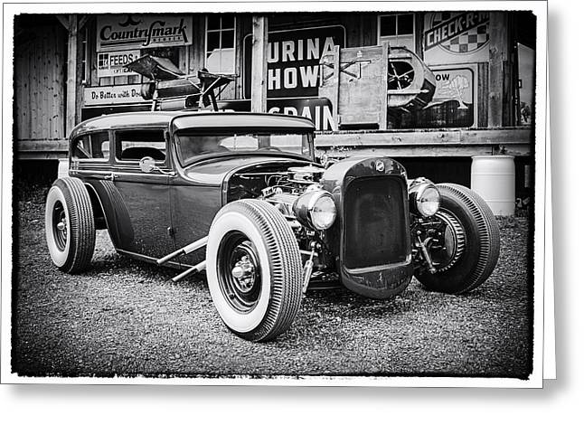 Oldies Greeting Cards - Classic Hot Rod in Black and White Greeting Card by Thomas Young