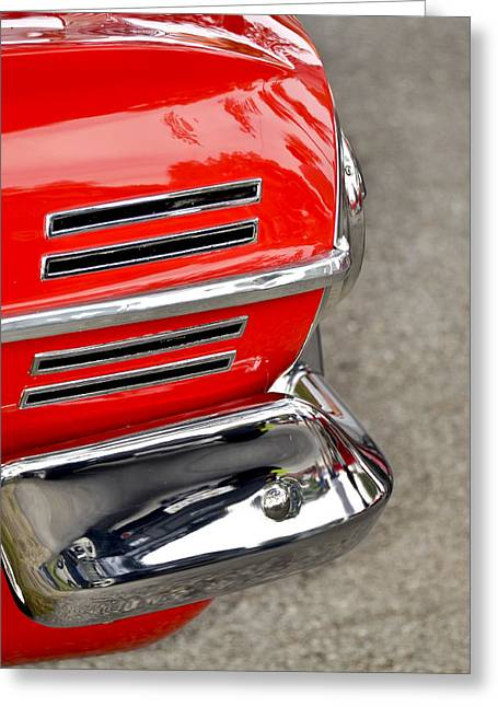 Red Street Rod Greeting Cards - Classic Impala In Red Greeting Card by Carolyn Marshall