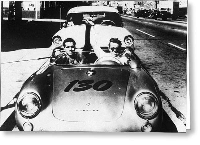 James Dean Greeting Cards - Classic James Dean Porsche Photo Greeting Card by Nomad Art And  Design