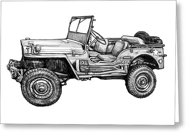 Classic Drawings Greeting Cards - Classic Jeep in world 2 drawing art poster Greeting Card by Kim Wang