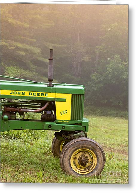 Tractors Greeting Cards - Classic John Deere 520 Tractor Greeting Card by Edward Fielding