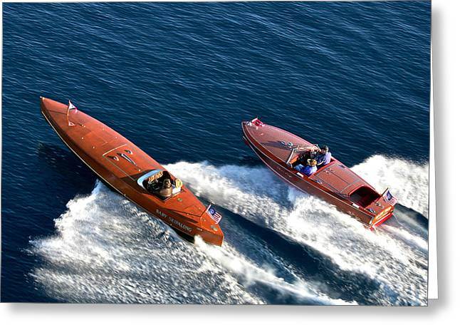Mahogany Greeting Cards - Classic Mahogany Runabouts Greeting Card by Steven Lapkin