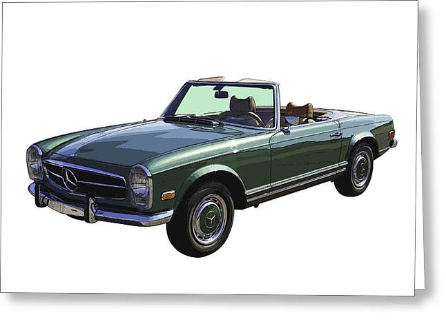 Shiny Digital Art Greeting Cards - Classic Mercedes Benz 280 SL Convertible Automobile Greeting Card by Keith Webber Jr