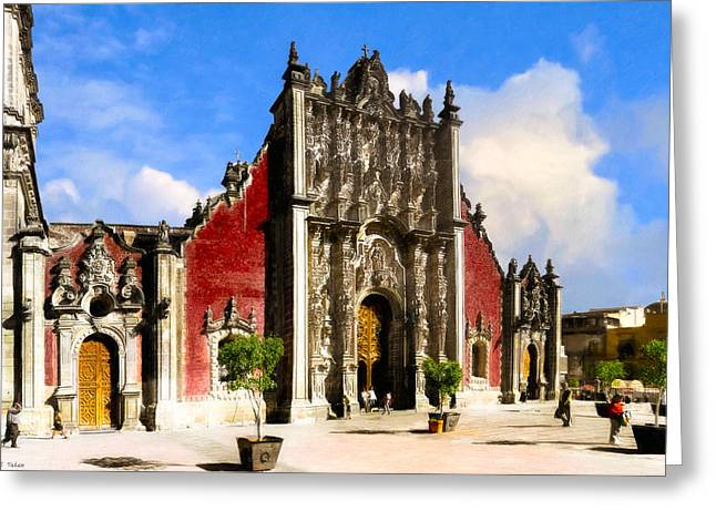 Mexico City Photographs Greeting Cards - Classic Metropolitan Tabernacle in Mexico City Greeting Card by Mark Tisdale