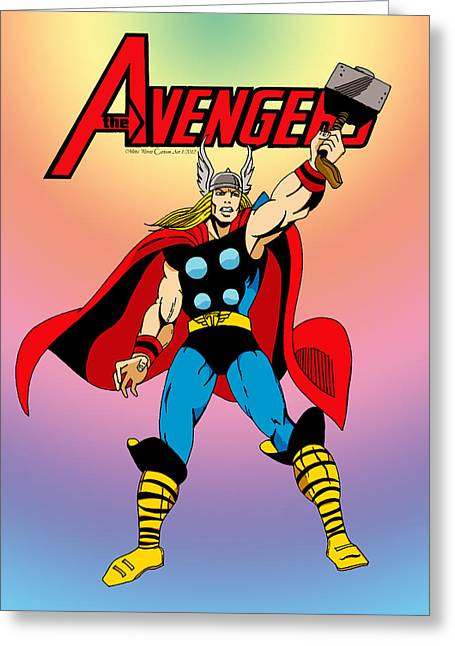 Yellow Hammer Greeting Cards - Classic Mighty Thor Greeting Card by Mista Perez Cartoon Art