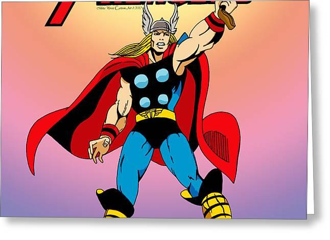 Classic Mighty Thor Greeting Card by Mista Perez Cartoon Art