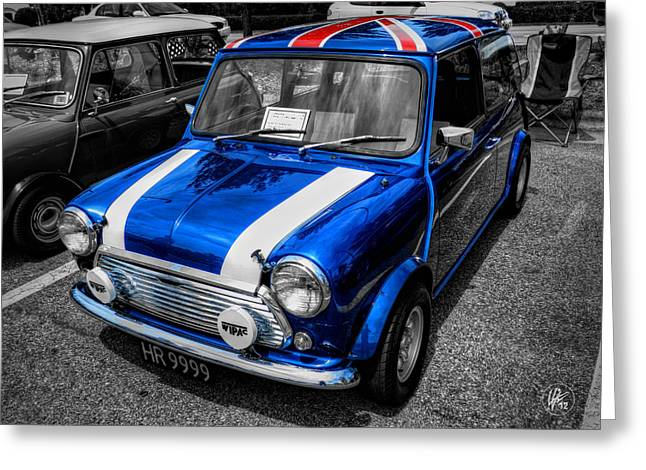 Sports Car Greeting Cards - Classic Mini Cooper Greeting Card by Lance Vaughn