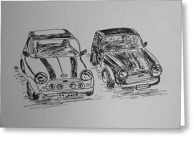 Mini Drawings Greeting Cards - Classic Minis Greeting Card by Victoria Lakes