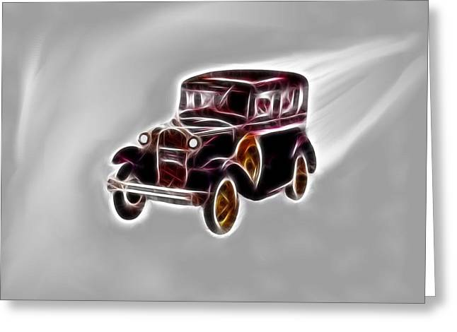 Collector Car Mixed Media Greeting Cards - Classic Model A Greeting Card by Daniel Madrid