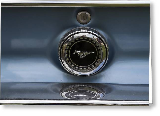 Beautiful Car Greeting Cards - Classic Mustang Badge Greeting Card by Nomad Art And  Design