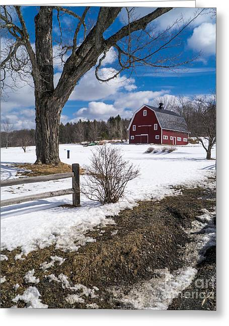 Red Barn Greeting Cards - Classic New England Farm Scene Greeting Card by Edward Fielding