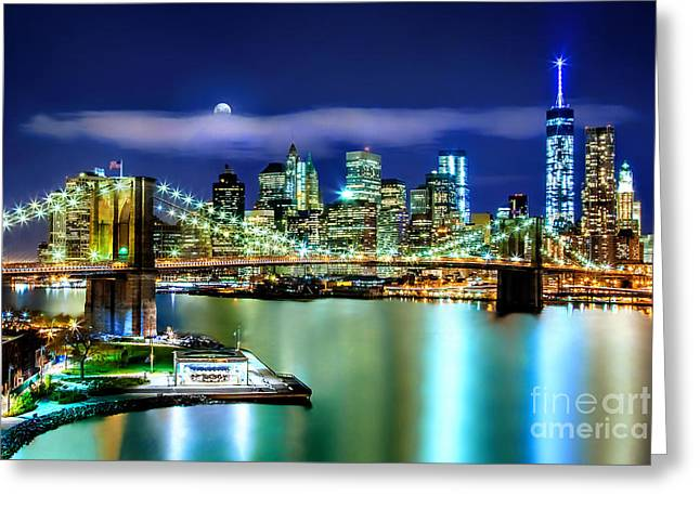 Center City Greeting Cards - Classic New York Skyline Greeting Card by Az Jackson