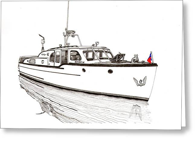 Pen And Ink Drawing Greeting Cards - Classic Northwest Yacht Greeting Card by Jack Pumphrey