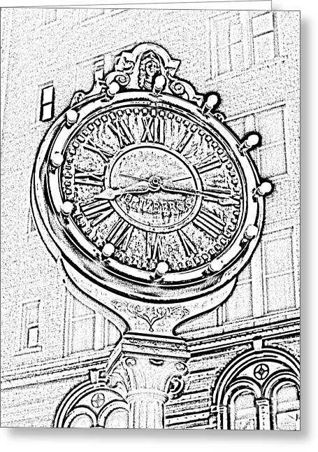 Photocopy Greeting Cards - Classic Nostalgic Americana Clock Downtown San Antonio Black and White Digital Art Greeting Card by Shawn O