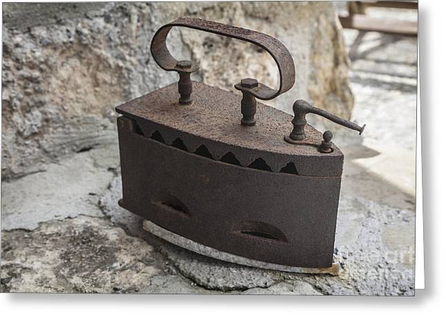 Ironing Board Greeting Cards - Classic old and rusty woodfired Iron Greeting Card by Frank Bach
