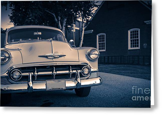 Old Automobile Greeting Cards - Classic old Chevy car at night Greeting Card by Edward Fielding
