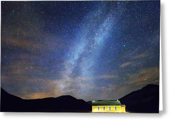 Stary Sky Greeting Cards - Classic Old Yellow School House Milky Way Sky Greeting Card by James BO  Insogna