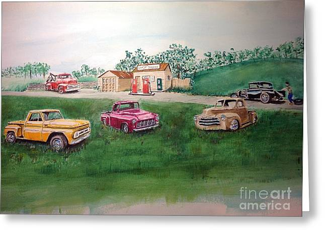 Classic Pickup Paintings Greeting Cards - Classic Pickups at Charlies Service Greeting Card by Charlie Wendt