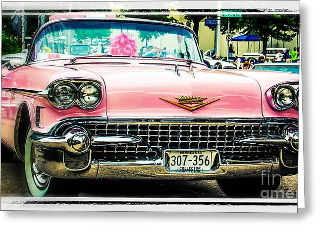 Classic Pink Cadillac Greeting Card by Perry Webster