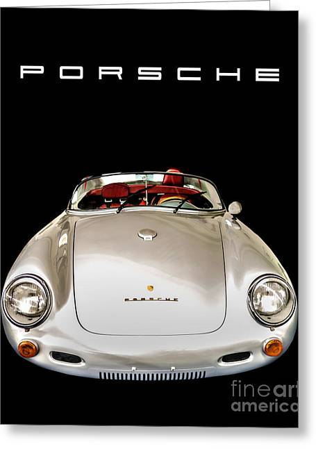 James Dean Greeting Cards - Classic Porsche Silver Convertible Sports Car Greeting Card by Edward Fielding