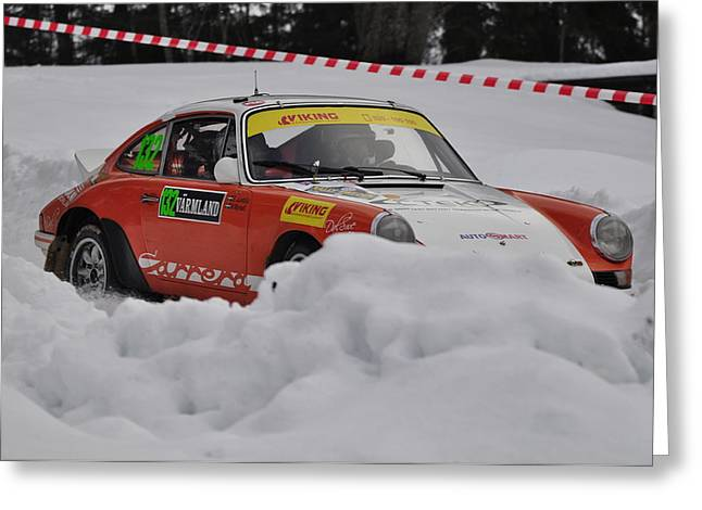Wrc Greeting Cards - Classic Porshe at Rally Sweden  Greeting Card by Stefan Pettersson