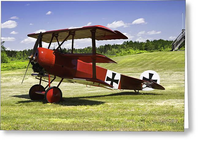 Airfield Greeting Cards - Classic Red Barron Fokker Dr.1 Triplane Photo Greeting Card by Keith Webber Jr