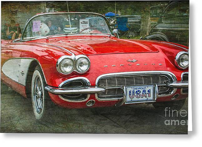 Paint Photograph Greeting Cards - Classic Red Corvette Greeting Card by Perry Webster