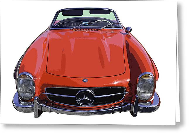 Mercedes Benz 300 Classic Car Greeting Cards - Classic Red Mercedes Benz 300 SL Convertible Sportscar  Greeting Card by Keith Webber Jr