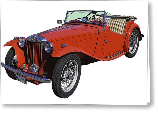Spokes Digital Art Greeting Cards - Classic Red MG TC Convertible British Sports Car Greeting Card by Keith Webber Jr