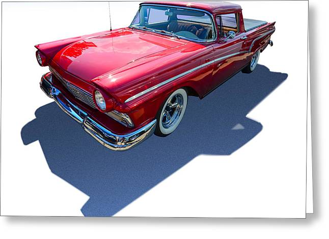 Lowrider Greeting Cards - Classic Red Truck Greeting Card by Gianfranco Weiss