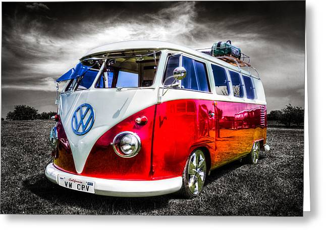 Californian Greeting Cards - Classic red VW Campavan Greeting Card by Ian Hufton