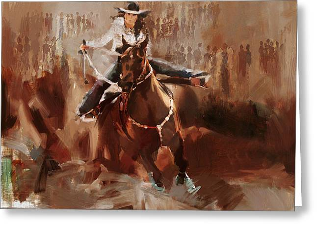 Dallas Paintings Greeting Cards - Classic Rodeo 1 Greeting Card by Maryam Mughal