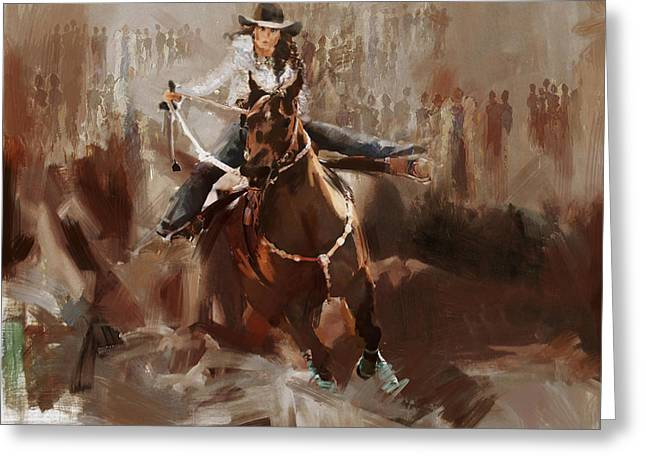 Las Vegas Art Greeting Cards - Classic Rodeo 1b Greeting Card by Maryam Mughal