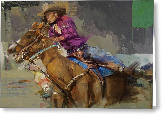 Arlington Greeting Cards - Classic Rodeo 3b Greeting Card by Maryam Mughal