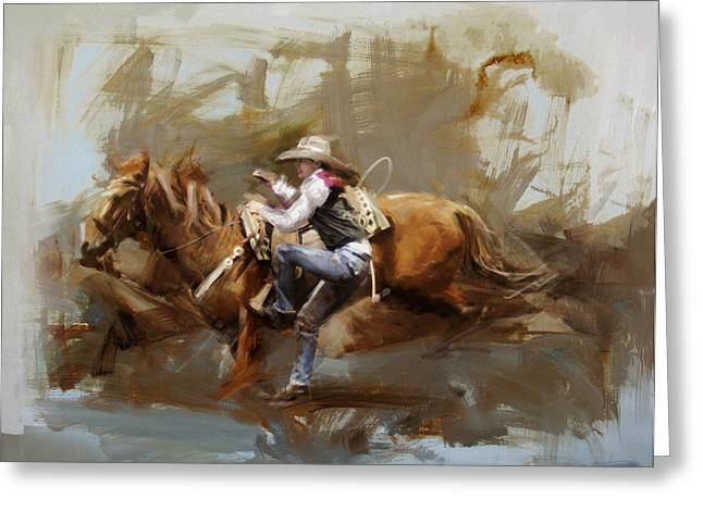 Dallas Paintings Greeting Cards - Classic Rodeo 5 Greeting Card by Maryam Mughal