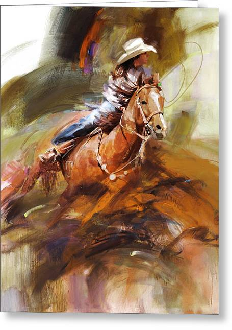 Dallas Paintings Greeting Cards - Classic Rodeo 6 Greeting Card by Maryam Mughal