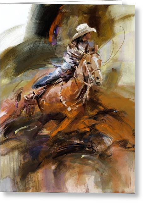 Las Vegas Art Greeting Cards - Classic Rodeo 6b Greeting Card by Maryam Mughal
