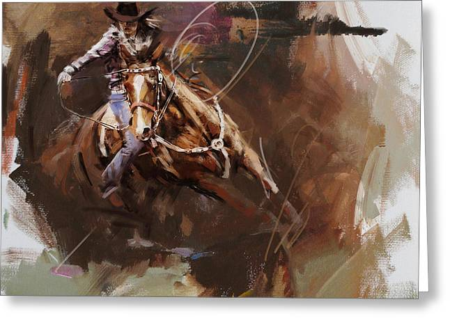 Dallas Paintings Greeting Cards - Classic Rodeo 8 Greeting Card by Maryam Mughal