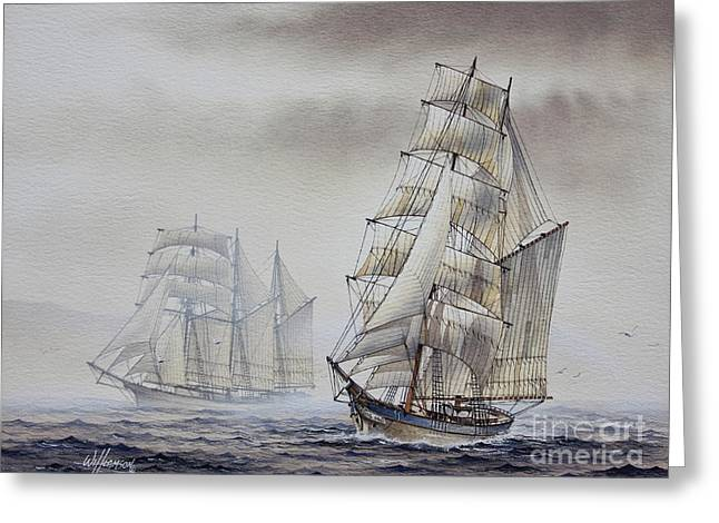 Tall Ship Greeting Card Greeting Cards - Classic Sail Greeting Card by James Williamson