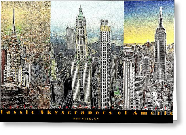 Highrise Digital Greeting Cards - Classic Skyscrapers of America 20130428 Greeting Card by Wingsdomain Art and Photography