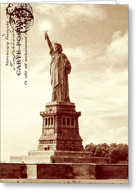 Historic Statue Greeting Cards - Classic Statue of Liberty - Sepia Tone Greeting Card by Mark Tisdale